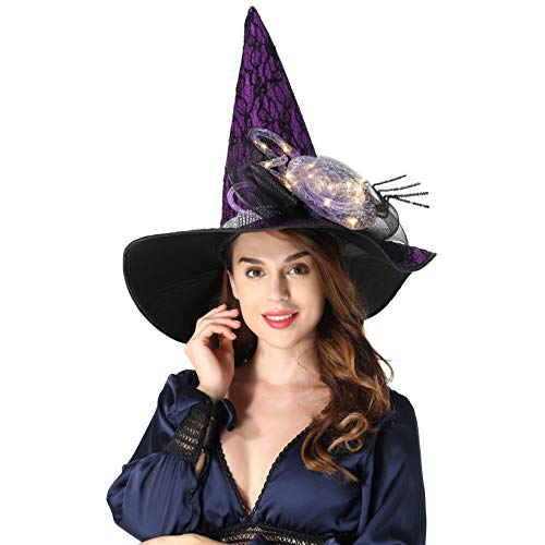 QinYing Purple Halloween Costume Witch Hats for Women Steeple Top with Lamp for Party