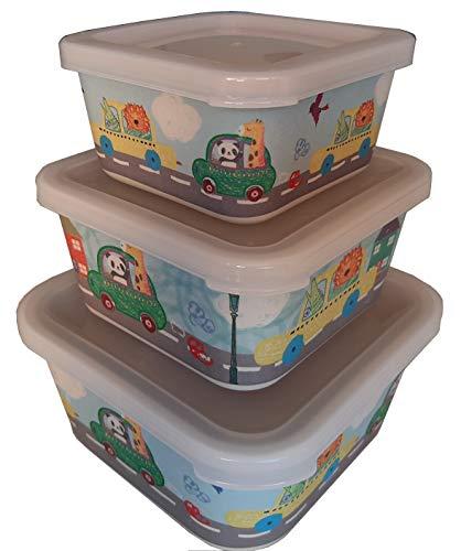 Tuper de Bambu Infantil 3 Tupers de Fibra de Bambú - Material Ecologico, Organico, Reciclable, Biodegradable - Ideal niños y bebé - Apto para Lavavajillas - Resistente y Ligero - Eco, Bio, Sin BPA