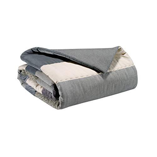 Vivaraise - Jeté de lit - Couvre-lit - Couverture lit - Drap lit - Jeté de lit décoration - 240 x 260 - Recto 100% Coton Verso 50% Coton 50% Polyester GARN 100% Coton - Ecume Ecru - Linia