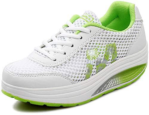 Solshine Damen Netz Sneakers Plateauschuhe Sportschuhe A233 Grün2 39EU