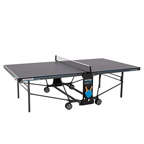 Kettler K5 Indoor, Tischtennisplatte, Turniermaße, robuste 19mm Feinspanplatte, Farbe grau, klappbar, TÜV geprüft, DIN EN 14468-1, Made in Germany