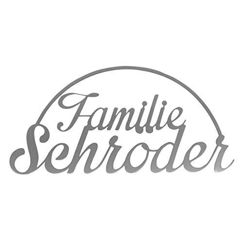Thorwa Design Familienschild Namensschild aus Edelstahl (Design 5) Hausnummernschild aus Edelstahl mit Wunschschriftzug/Namen/Schriftzug (36cm x 18cm)
