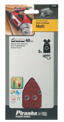 Black+Decker X31432-XJ - 5 Hojas de lija para Multilijadoras. Grano 40. Madera, pintura, barniz, yeso, metal y plástico.