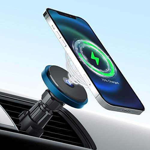 Catalpa U Quick Aligned Magnetic 15W Wireless Car Mount Charger only Designed for iPhone 12/12 Pro/12 mini/12 Pro Max Magnetic Car Mount Charger-Blue
