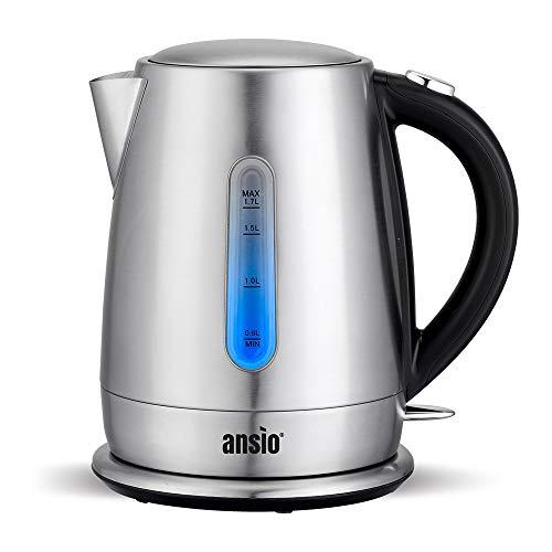 ANSIO Wasserkocher, 1,7l elektrischer Wasserkocher Edelstahl mit Herausnehmbarer Kalkfilter, Abschaltautomatik, Schnellkochfunktion Wasserstandsanzeige beleuchtet kompakter Tee kocher 2200 W