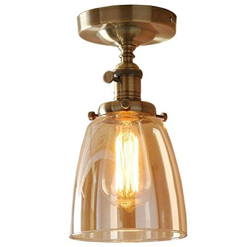 JZMB Nostalgie Designer ronde plafondlamp koperkleurig glas Shades plafondlamp 1 & nbsp; gloeilamp spinnen eetkamerlamp Loft Mini decoratief licht en plakstang 14 & n