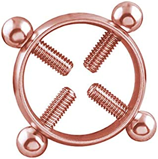 1Pc Round Non-Piercing Nipple Ring Shield Body Piercing Jewelry Screw TO | Color - Rose gold