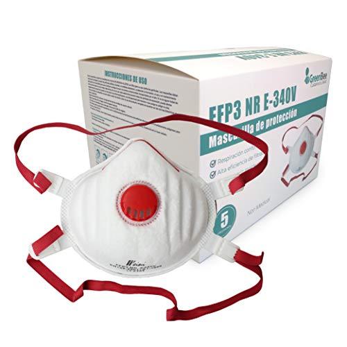 GreenBee Caja de 5 mascarillas de protección FFP3 con válvula y Gomas ajustables, Embalaje Individual, protección de la mas alta clase.