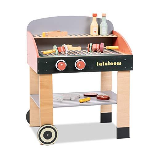 Lalaloom BABYCUE - Cocina de juguete de madera para niños (cocina infantil, juego de imitación, cocinita barbacoa con accesorios de madera), 47x31x58 cm