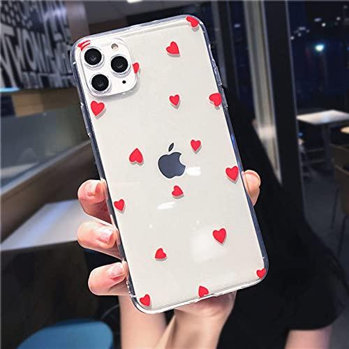 LIUYAWEI Estuche para teléfono para iPhone 11 6 6s 7 8 Plus X XR 11Pro XS MAX Cute Cartoon Love Heart Transparente Soft TPU para iPhone X Carcasa, Rojo, para iPhone 2020 SE