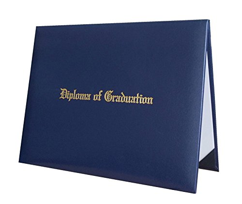 Certificate Cover Imprinted'Diploma of Graduation' Smooth Diploma Cover 8.5' x 11' Grad Days(Navy)