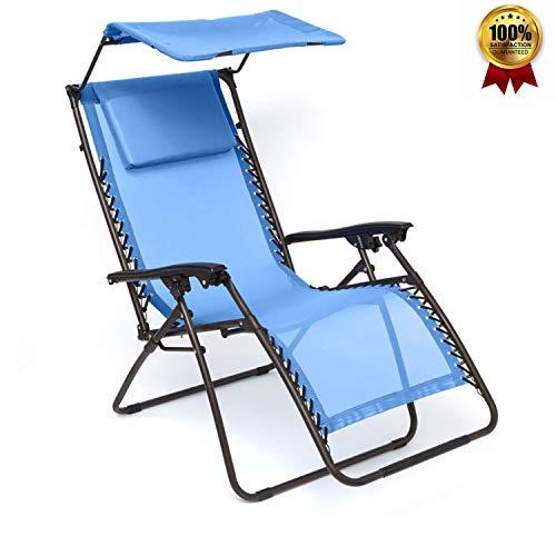 Opklapbare Ligstoel Opvouwbare Ligstoel Liggende Tuinstoel Met Luifel + Beensteun Verstelbare Rugleuning + Hoofdsteun Blauw
