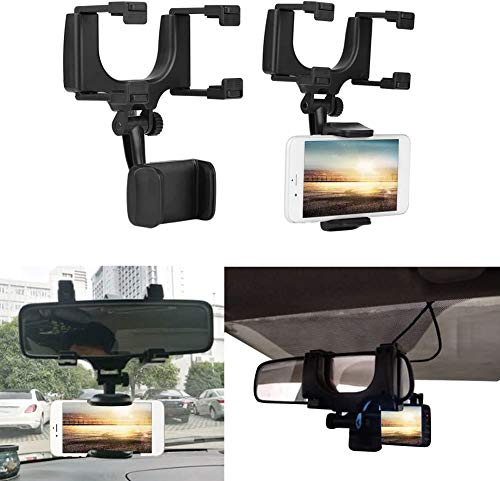 CQLEK Anti Shake & Fall Prevention 360 Degree Rotation Adjustable Anti Vibration Car Phone Holder for Rear View Mirror Mount Stand - Supports Mobile Up to 6.5 inch Smartphones