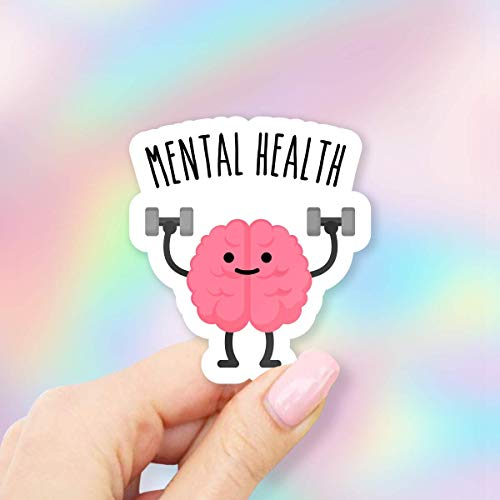 Mental Health Brain Lifting Weights Vinyl Sticker for Laptops, Windows and Water Bottles