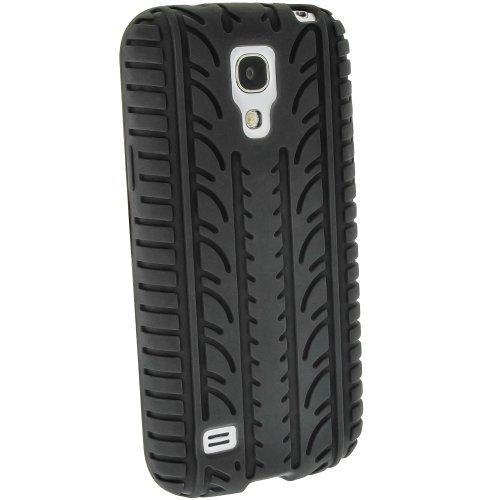 igadgitz U2530 Pneumatico Custodia Silicone per Samsung Galaxy S4 Mini I9190 Gomma Cover con Pellicola - Nero
