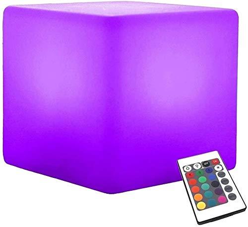 Ygetas Led Mood Light Wiederaufladbare Farbwechsel LED Nachtlicht Hocker Startseite Party Pool Patio Bar dekorative Beleuchtung Luminous Hocker Stuhl mit Fernbedienung (Größe : 20 * 20 * 20cm)