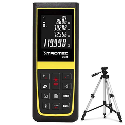 TROTEC BD26 Laser Entfernungsmesser (max. Reichweite 120 Meter) Messgerät Streckenmesser inkl. Dreibein-Universalstativ