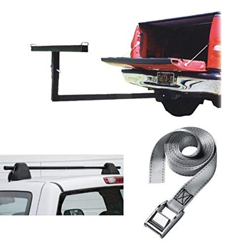 Truck Bed Extender with Black Roof Turbo Rack and Lashing...