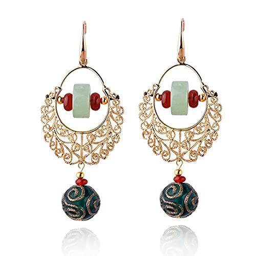 RAN Pendientes de Piedras Preciosas Naturales Estilo Bohemio de Estilo de Vidrio Coloreado Perlas de Oro joyería de Gota de Oro Joyería de San Valentín Navidad