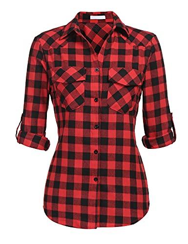 UNibelle Kariertes Hemd Damen Langarm Karohemd Bluse Damen Baumwolle mit Einstellbare Ärmeln(Rot,M)