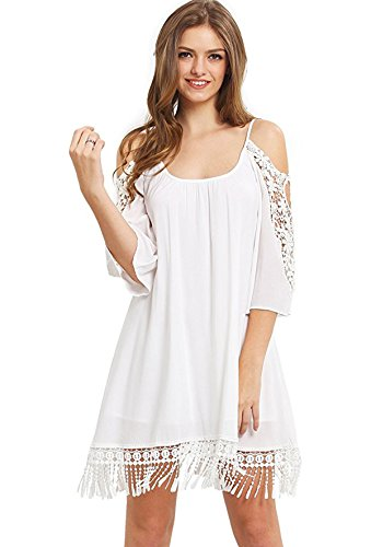 Milumia Women's Summer Cold Shoulder Crochet Loose Beach Dress White Medium