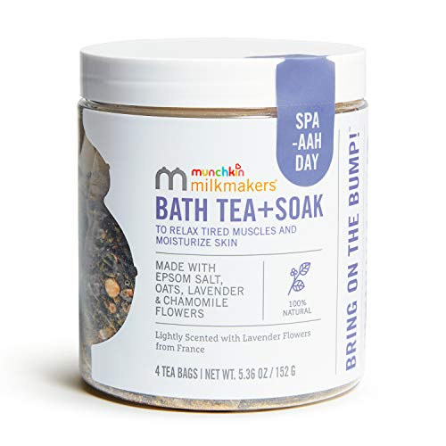 Munchkin Milkmakers Prenatal Bath Tea + Soak To Relax Muscles & Soothe Itchy Skin, Made With Epsom Salt, Oats, Lavender & Chamomile Flowers, Full Body or Foot Bath, 4.0 Count