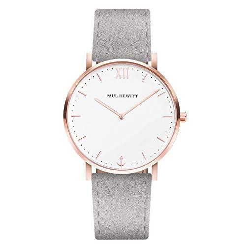 PAUL HEWITT Armbanduhr Damen Sailor Line White Sand - Damen Uhr (Rosegold), Damenuhr mit Stoffarmband in Grau, weißes Ziffernblatt