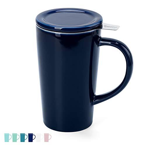 Sweese 202.103 Teetasse mit Deckel und Sieb, Tee tassen Porzellan für Losen Tee Oder Beutel, Dunkelblau, 450 ml