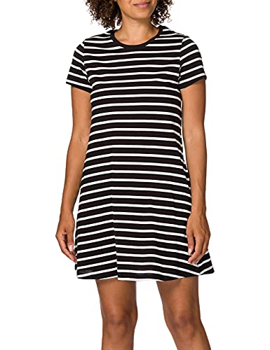 Only ONLMAY Life S/S Pocket Dress JRS Vestido, Negro/Rayas: Cloud Dancer, L para Mujer