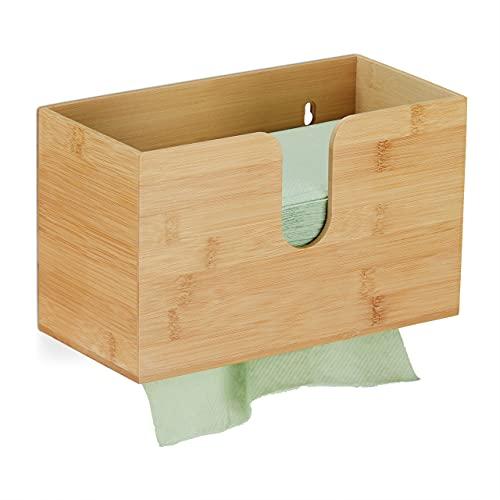 Relaxdays Papierspender, Bambus, für H2 Papierhandtücher, Papiertuchspender Wandmontage, HxBxT 16 x 27 x 13 cm, Natur, 10033886