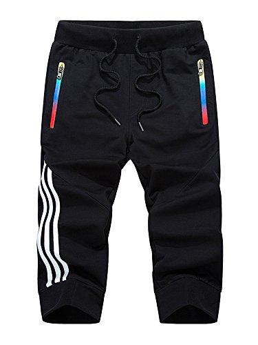 MANLUODANNI Homme Pantalon Court Décontracté Short et Bermuda Sport Jogging Casual Slim Fit Multi Poches en Coton et Polyeste Noir M