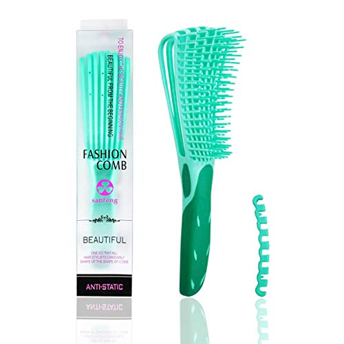 Detangling Brush for Black Natural Hair Detangling Comb Detangler for Afro Textured America 3a to 4c Kinky Wavy Curly Coily Thick Long Hair Detangle Easily with Wet/Dry Valentine's day Gift (Green)
