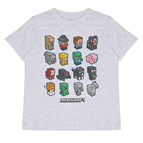 Popgear Minecraft Mini Mobs Boys T-Shirt Heather Grey Camiseta, Gris, 8-9 Años para Niños