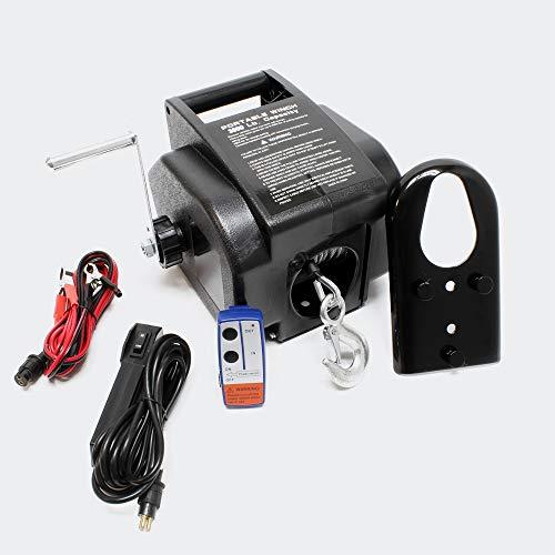 WilTec Treuil électrique 350W Treuil motorisé 1570kg Max. avec Télécommande Câble Palan Poulie de Levage