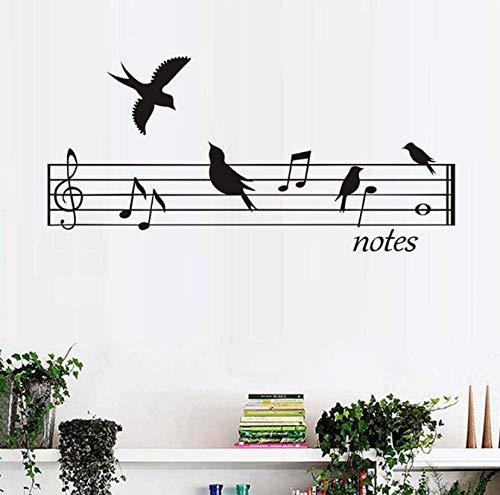 Pegatinas de alta calidad para pared, diseño de pájaros, música, notas, autoadhesivas, para la pared, de PVC, 90 cm x 43 cm