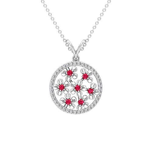 Colgante de halo de círculo abierto de 0,60 quilates con certificado de rubí, colgante de piedra natal de julio grabado en oro de 14 quilates, colgante de cadena, Metal, Ruby Diamond,