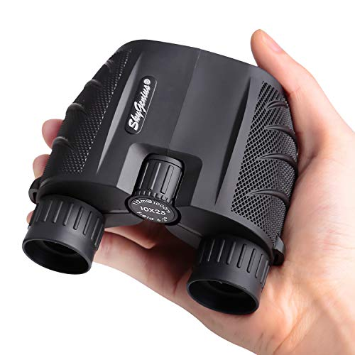 SkyGenius 10x25 Compact Binoculars, BK4 Roof Prism FMC Lens Kid Binoculars for Bird Watching, Binoculars for Adults Pocket for Concerts, Theater, Travel (0.53lb)