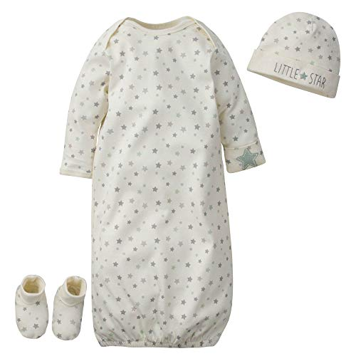 Gerber Baby Boys' Organic 3-Piece Gift Set Gown with Cap and Booties, White Little Star, 0-6 Months