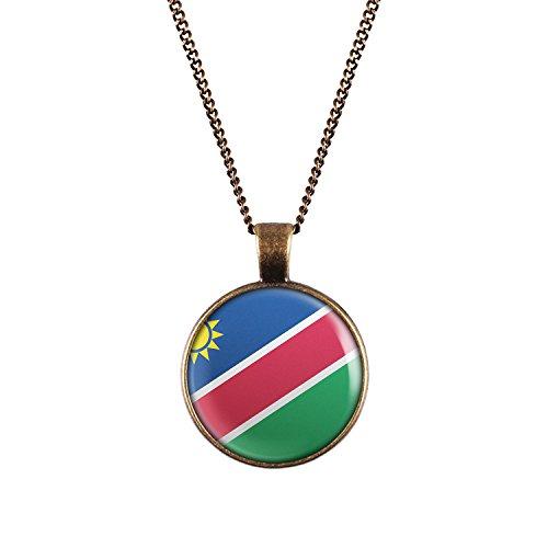 WeAreAwesome Namibia Flagge Halskette - Länderkette mit Fahne Anhänger Unisex Kette Afrika
