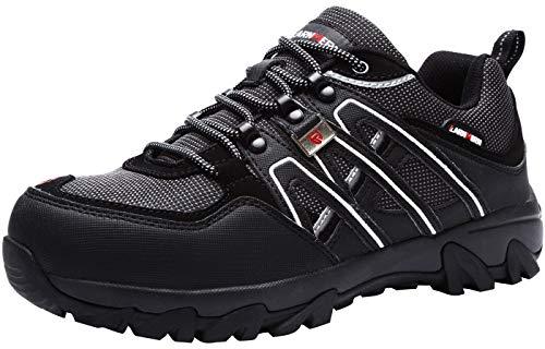 LARNMERN Sicherheitsschuhe Arbeitsschuhe Herren, Sicherheit Stahlkappe Stahlsohle Anti-Perforations Luftdurchlässige Schuhe, Dunkelschwarz L1032, 44 EU