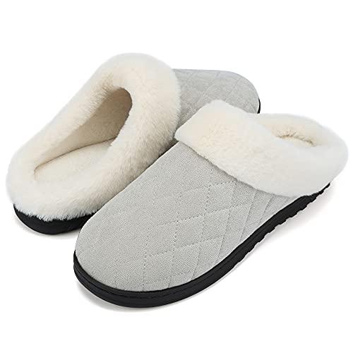 VTASQ Zapatillas de Estar Mujer Invierno Zapatillas Casa de Espuma Viscoelástica CáLido Antideslizantes Pantuflas de Interior y Exterior Gris 38/39