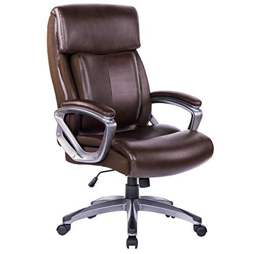 Bosmiller Bürostuhl Chefsessel Drehstuhl Bürostuhl aus Leder mit hoher Rückenlehne Computerstuhl Sitzhöhenverstellung Office Stuhl Polsterung