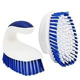 ITTAHO 2 cepillos de limpieza de cerdas rígidas para limpieza, cepillo de exfoliación resistente, cepillo de mano con mango sólido para piso, alfombra, azulejos, bañera, baño, cubierta (azul-blanco)