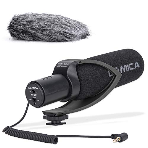 Comica CVM-V30PRO B 3.5mm on Camera Microphone Directional Condenser Shotgun Video Microphone Interview Mic for Canon,Nikon, Sony,Panasonic,Fuji,Olympus DSLR Cameras(with Wind Muff)