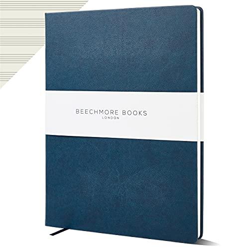 Cuaderno de papel personalizado con manuscrito – Premium A4 10 personal de Beechmore Books   Tapa dura de piel vegana de 120 g/m², papel crema, 21 x 29,7 cm (Symphony Blue)