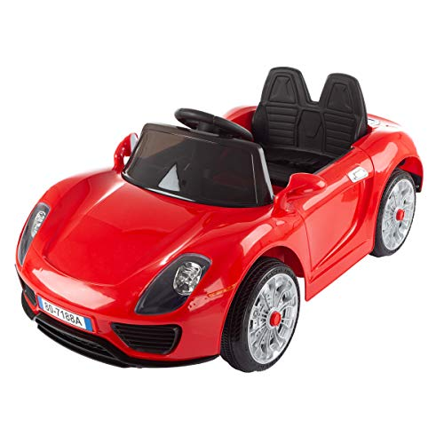 Lil' Rider Ride on Sports Car – Motorized Electric Rechargeable Battery Powered Toy with Remote Control, MP3 & USB, Lights & Sound (Red), (Model: 80-7188A-R)