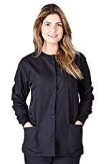 Women's Round Neck Long Sleeve Warm-Up Jacket Matching Color Knit Cuffs, Snap Button Closure Triple Reinforced Seams and Stitches for Added Durability Excellent Quality and Construction, 65% Polyester//35% Cotton Please, refer to our sizing chart to ...