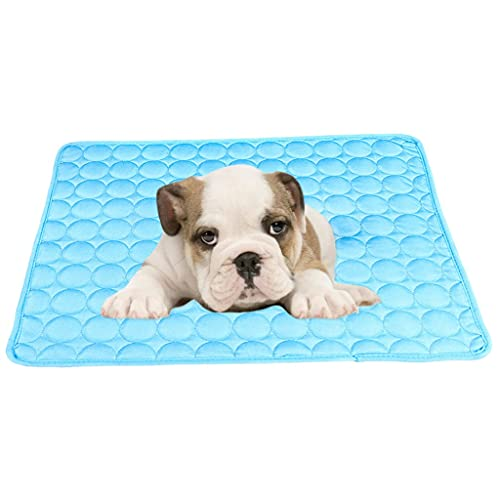 ZCWYP Pet Accessories Summer Cooling Mat Pet Ice Pad Cool Cold Silk Moisture-Proof Cooler Sofa Mats Portable Tour Sleeping (Color : Blue, Size : 100x70cm)