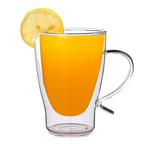 MZXUN Juego de 4 tazas de cristal de doble pared con aislamiento para tazas compatibles con Thermo Whisky, café, jugo de leche, vasos de té y café (color: transparente, tamaño: talla única)