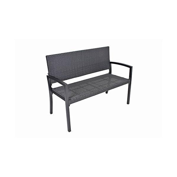 Unbekannt VARILANDO Gartenbank Parkbank Sitzbank 2-Sitzer aus Kunststoffgeflecht und Aluminium in schwarz